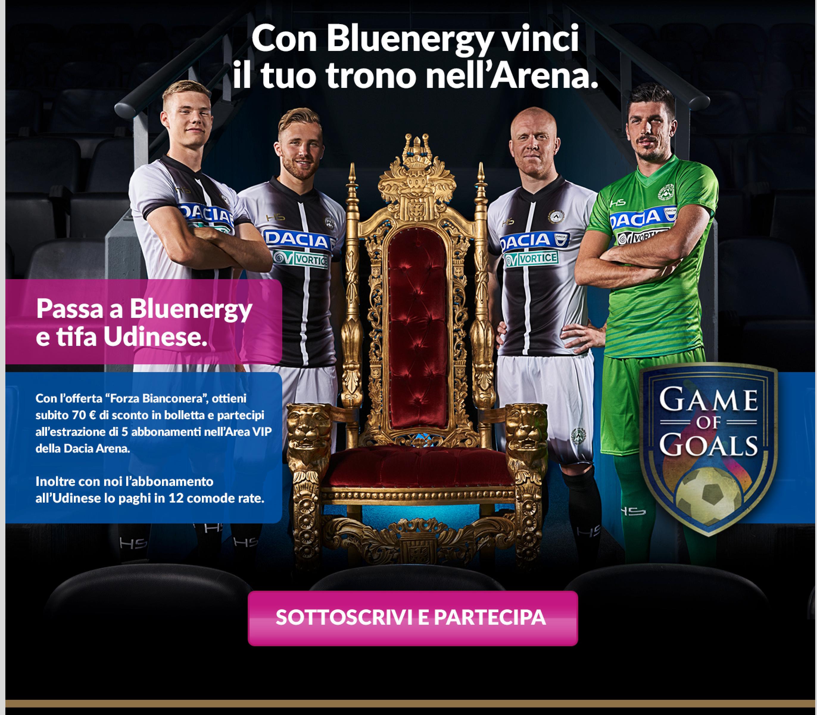 Bluenergy diventa Premium Partner e Energy Partner di Udinese Calcio