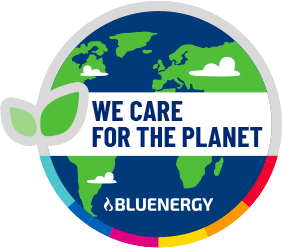 Bluenergy , we care for the planet logo